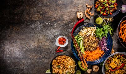 Foto op Aluminium Eten Top view composition of various Asian food in bowl