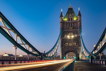 London,Untied Kingdom iconic,Light trails along Tower Bridge  traffic in the morning in London 2018. Wall mural
