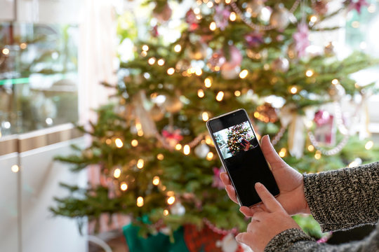 A woman is standing in front of decorated Christmas tree with her mobile phone. The display shows the Christmas tree and Copy Space. Only see the arms. Selective focus.