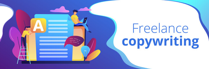 Copywriter at huge laptop writting creative advertising text. Copywriting job, home based copywriter, freelance copywriting concept. Header or footer banner template with copy space.