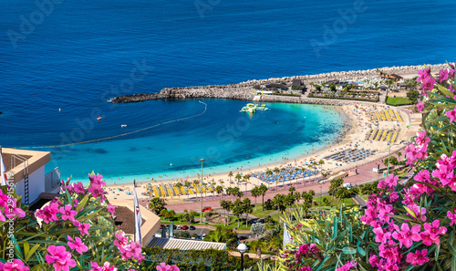 Wall mural Landscape with sunset at Amadores beach on Gran Canaria, Spain