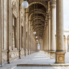 One of the four passages surrounding the court of The Great Mosque of Muhammad Ali Pasha - Alabaster Mosque - Citadel of Cairo, Egypt