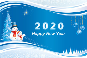2020 Happy New Year greeting card with Christmas tree and snowmen on  background of snowflakes decorated with wave pattern