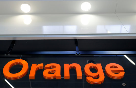 The logo of French telecoms operator Orange is pictured in a retail store in Bordeaux