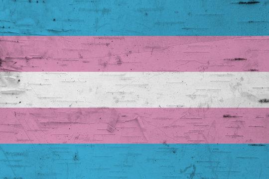 A rustic old transgender flag on weathered wood