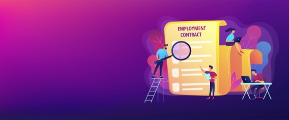 Employee hiring. Business document. HR management. Employment agreement, employment contract form, employee and employer relations concept. Header or footer banner template with copy space..