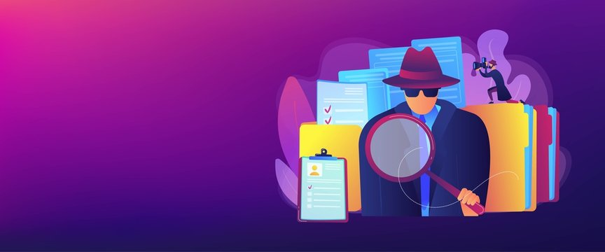 Secret agent searching clues and spying investigating case. Private investigation, private detective agency, private investigator services concept. Header or footer banner template with copy space.