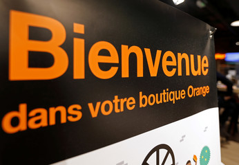 A welcome sign of French telecoms operator Orange is pictured in a retail store in Bordeaux