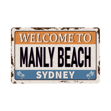 Vintage welcome to Manly Beach Sydney Australia tin rusty web sign