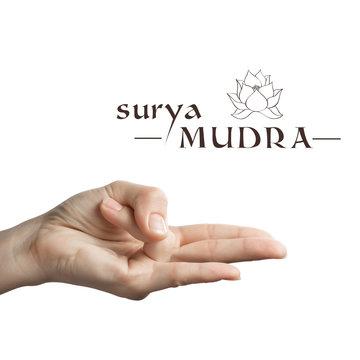 Surya mudra. Yogic hand gesture on white isolated background.