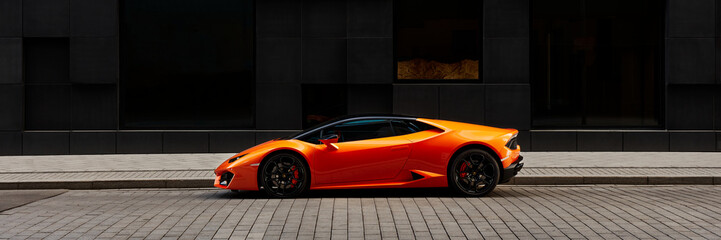 Oslo, Norway, 03.06.2016: Lamborghini Huracan in front of office building on Wismargata street