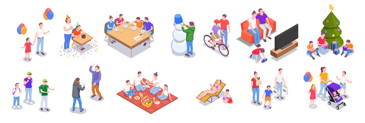 Family Holidays Isometric Set