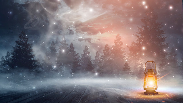 Night lamp, snow. Night scene in the open. smoke, moonlight. Winter background, snowy forest.