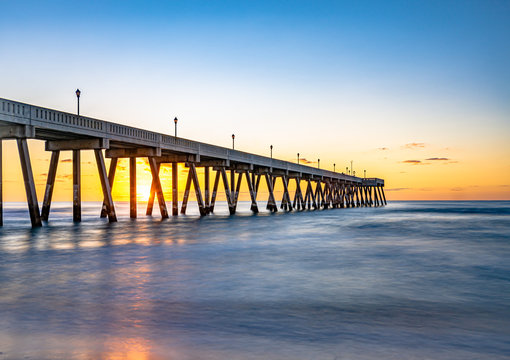 Johnnie Mercers Fishing Pier at sunrise in Wrightsville Beach east of Wilmington,North Carolina,United State.