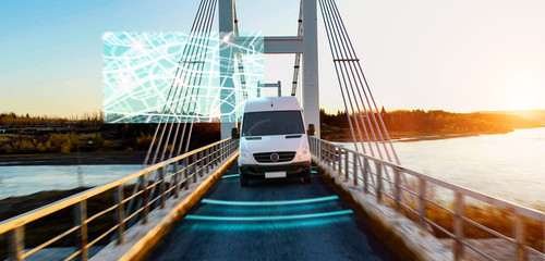 Autonomous transporter Car driving on a bridge highway with technology assistant tracking information, showing details.