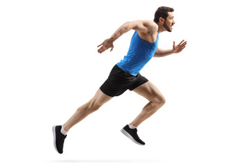 Fit man starting to run fast