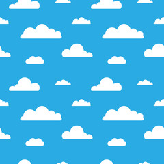 Seamless vector pattern with clouds on blue background. Cartoon modern white clouds in flat design isolated. Design for web page backgrounds, fabric, wallpaper, textile and decor