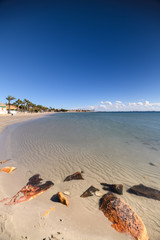 Los Alcazares beach in the morning on a sunny day
