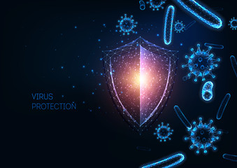 Futuristic immune system protection with glowing low polygonal shield, virus and bacteria cells.