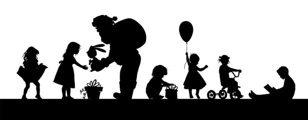 The silhouette of Santa Claus gives a gift to the girl. Silhouettes of children for the new year. Vector illustration