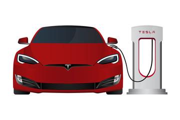 Red Tesla Model S with Tesla Supercharger. Vector illustration