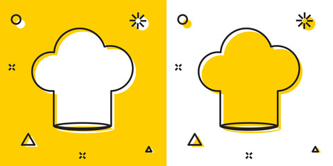 Black Chef hat icon isolated on yellow and white background. Cooking symbol. Cooks hat. Random dynamic shapes. Vector Illustration