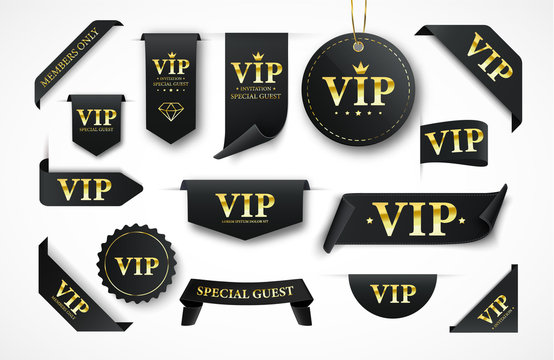 Vip labels, badges or tags. Vector black banners with gold vip text. Vector illustration