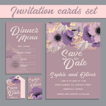 Set of card with purple flower - wedding ornament concept.