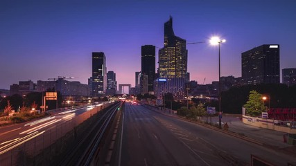 Fotomurales - timelapse, Paris LaDefense at sunset