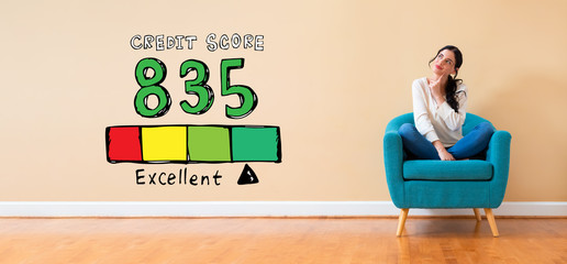 Excellent credit score theme with woman in a thoughtful pose in a chair