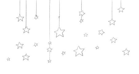 Pack of illustrations of stars outline 1.