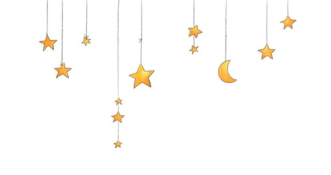Pack of hand-painted watercolor style stars illustrations.
