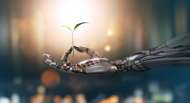 Robot arm holding green sprout in fingers, ecology green energy concept, 3d render