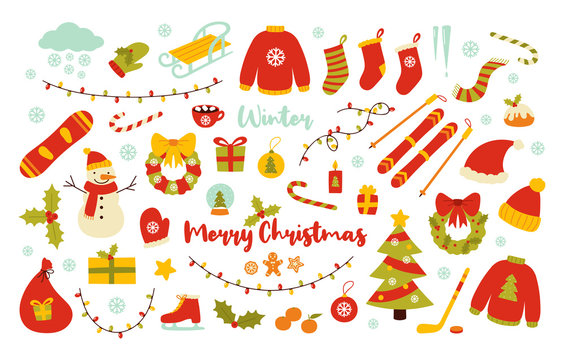 Winter and Christmas vector illustrations