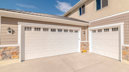 Panorama frame Drive way and garage of modern two storey home