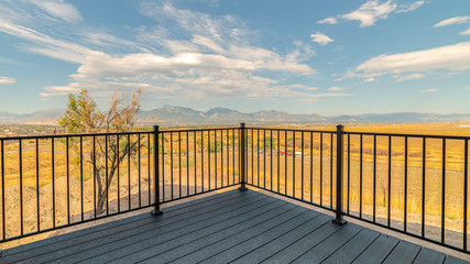 Panorama frame Outdoor deck or patio in the countryside
