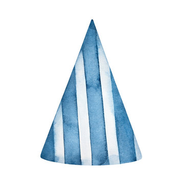 Watercolour illustration of blue striped birthday party cone hat. Front view, one single object. Hand painted water color drawing on white background, cutout clipart element for design decoration.
