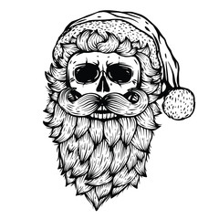 Vector Skull black illustration isolated on white background. Bad Santa image. Skeleton head. Holiday home decor print. T shirt design. Halloween, Christmas, New Year graphic design.