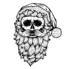 Vector Skull black illustration isolated on white background. Bad Santa image. Skeleton head. Holiday home decor print. T shirt design. Halloween, Christmas, New Year graphic design.