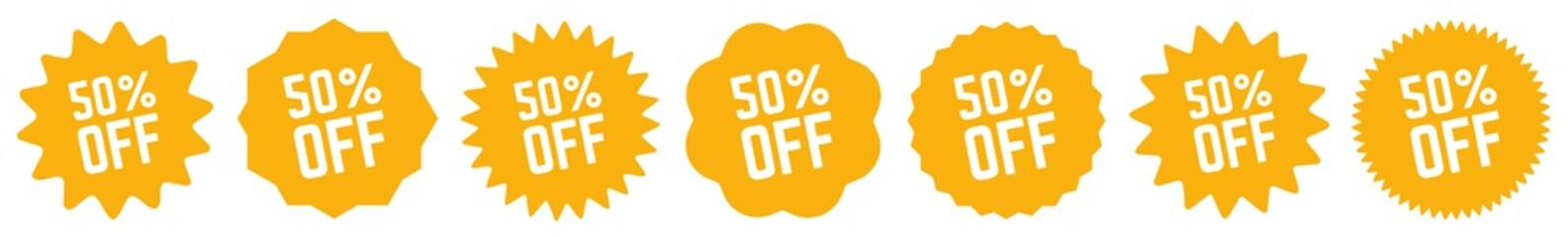 50 Percent OFF Discount Tag Orange   Special Offer Icon   Sale Sticker   Deal Label   Variations