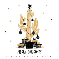 Christmas cactus with balls, garlands and gifts on the background of stars. Greeting card with illustration in hand drawn style