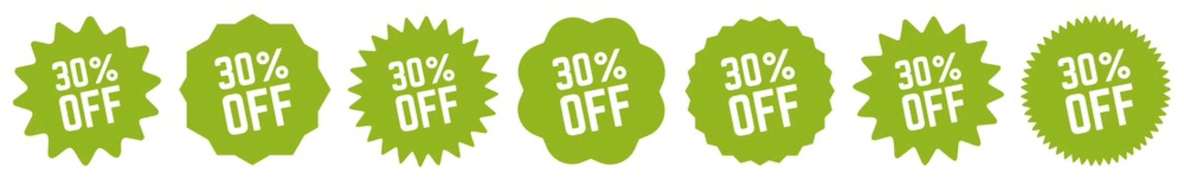 30 Percent OFF Discount Tag Green Eco | Special Offer Icon | Sale Sticker | Deal Label | Variations