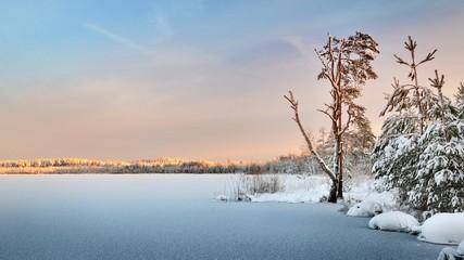 Frozen lake winter sunrise landscape Wall mural