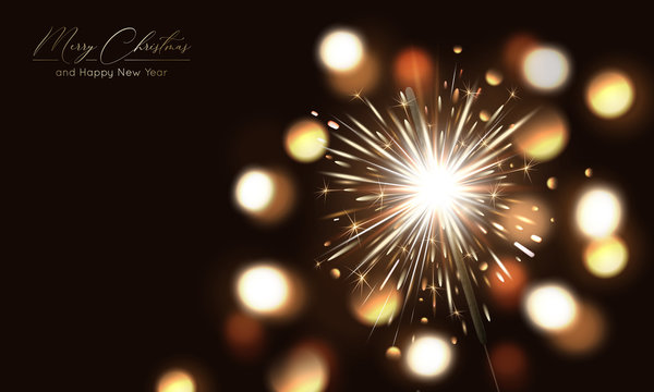 Merry Christmas background with realistic sparkler and light effects. Vector Happy New Year poster with golden bengal lights and bokeh. Festive illustration