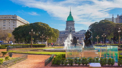 Acrylic Prints Buenos Aires Buenos Aires, Argentina-20 May, 2019: National Congress plaza of Buenos Aires