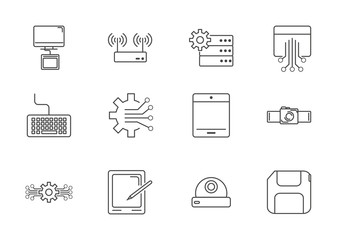 digital tech circuit board icons set line