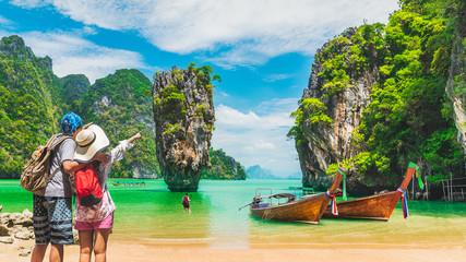 Couple traveler joy nature scenic landscape James Bond Island Attraction famous landmark tourist travel Phuket Thailand fun beach summer outdoor vacation trip, Tourism beautiful destination place Asia