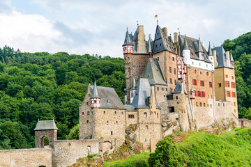 Famous popular Eltz Castle, a medieval castle located on a hill in the forest UNESCO World Heritage Site