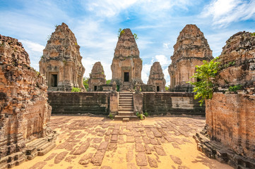 Ancient buddhist khmer temple in Angkor Wat, Cambodia. East Mebon Prasat