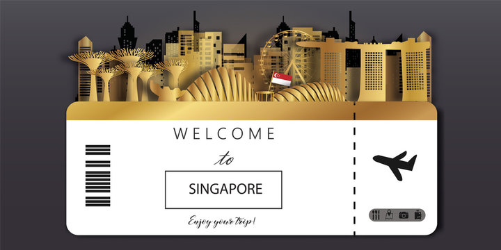 Singapore Ticket Travel postcard panorama, poster, tour advertising of world famous landmarks of Singapore in paper cut style.